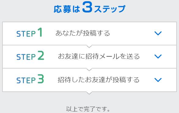 応募3ステップ説明画面