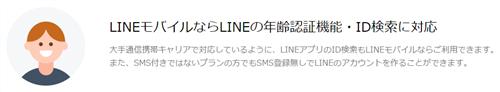 LINEモバイルは年齢認証ができる。