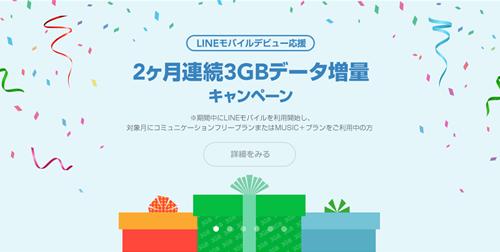 2か月連続3GBデータ増量キャンペーン